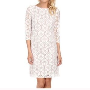 VINCE CAMUTO IVORY & NUDE STRETCH LACE DRESS 10